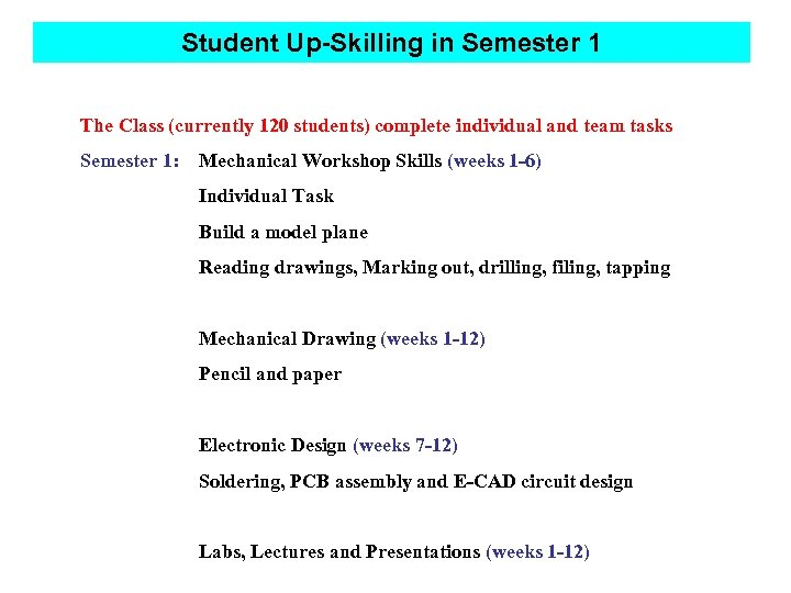 Student Up-Skilling in Semester 1 The Class (currently 120 students) complete individual and team