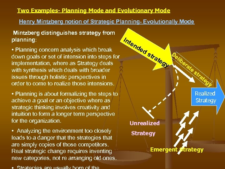 Two Examples- Planning Mode and Evolutionary Mode Henry Mintzberg notion of Strategic Planning- Evolutionally