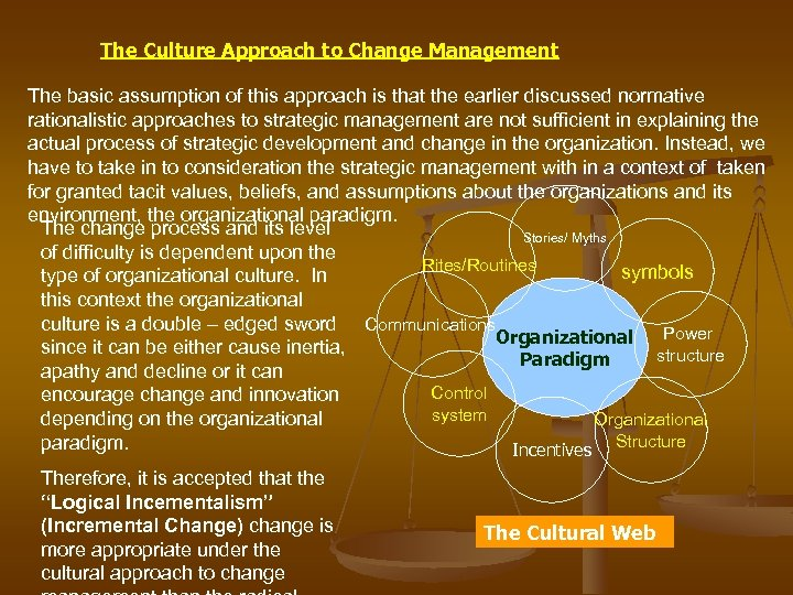 The Culture Approach to Change Management The basic assumption of this approach is that