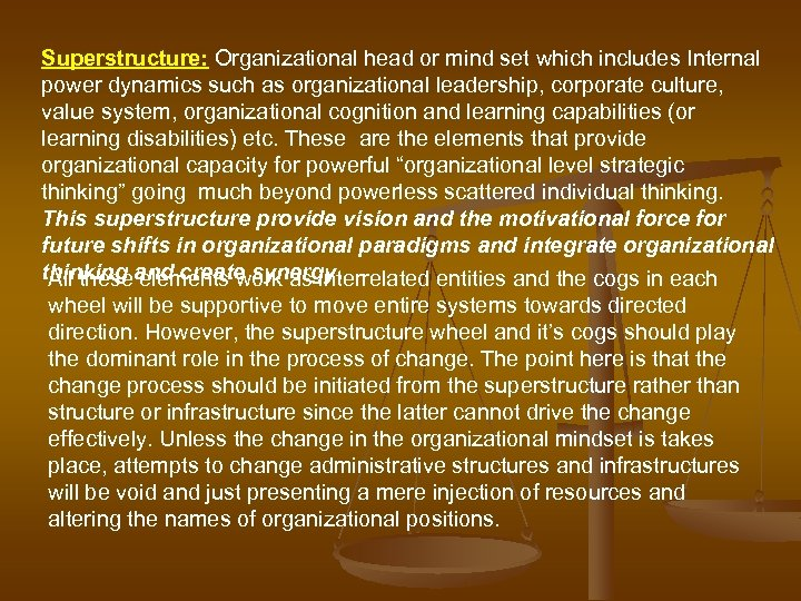 Superstructure: Organizational head or mind set which includes Internal power dynamics such as organizational