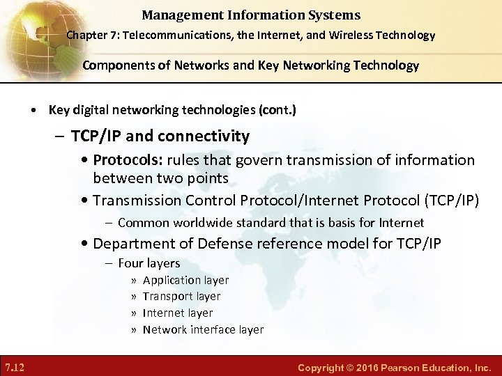 Management Information Systems Chapter 7: Telecommunications, the Internet, and Wireless Technology Components of Networks