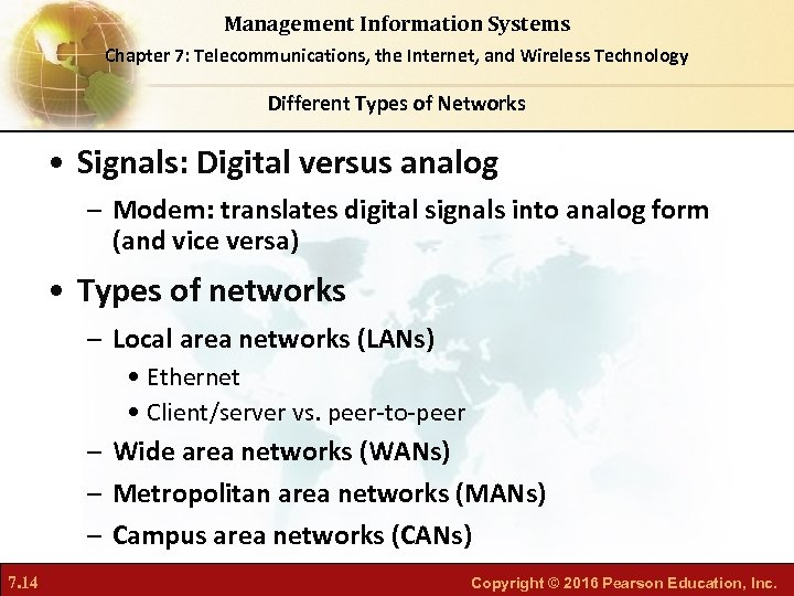 Management Information Systems Chapter 7: Telecommunications, the Internet, and Wireless Technology Different Types of