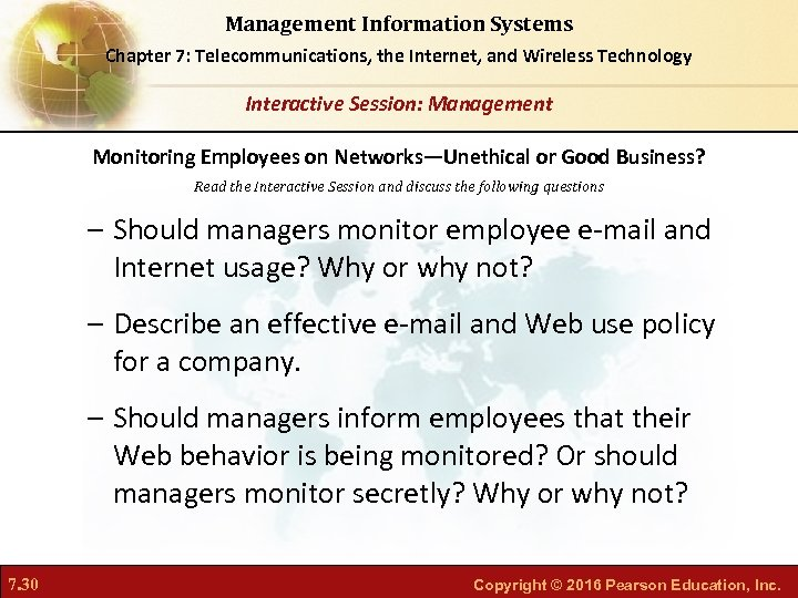 Management Information Systems Chapter 7: Telecommunications, the Internet, and Wireless Technology Interactive Session: Management