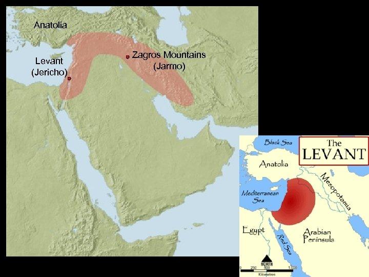 Anatolia Levant (Jericho) Zagros Mountains (Jarmo)