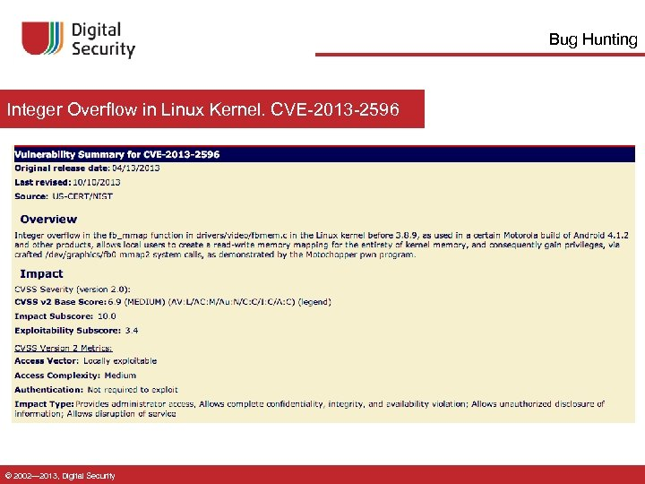 Bug Hunting Integer Overflow in Linux Kernel. CVE-2013 -2596 © 2002— 2013, Digital Security