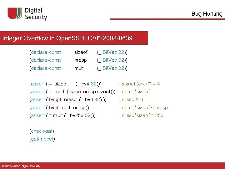 Bug Hunting Integer Overflow in Open. SSH. CVE-2002 -0639 (declare-const sizeof (_ Bit. Vec
