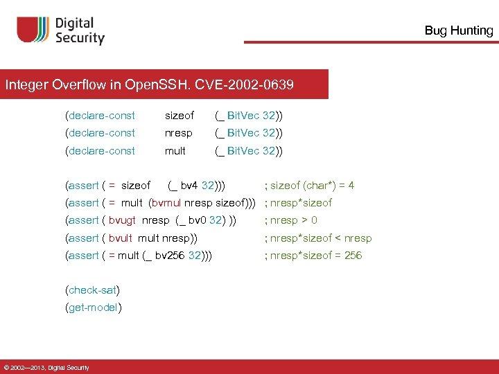 Bug Hunting Integer Overflow in Open. SSH. CVE-2002 -0639 (declare-const sizeof (_ Bit. Vec