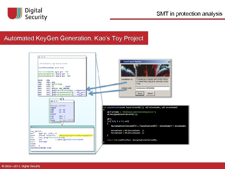 SMT in protection analysis Automated Key. Generation. Kao's Toy Project © 2002— 2013, Digital