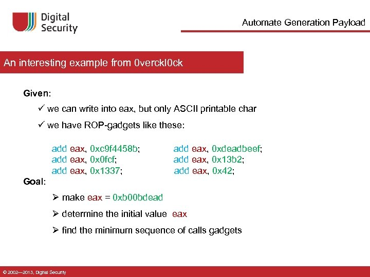 Automate Generation Payload An interesting example from 0 verckl 0 ck Given: ü we