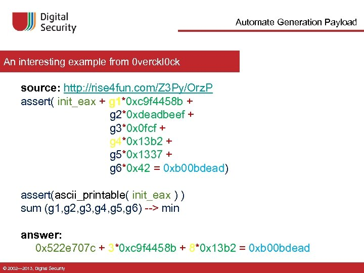 Automate Generation Payload An interesting example from 0 verckl 0 ck source: http: //rise