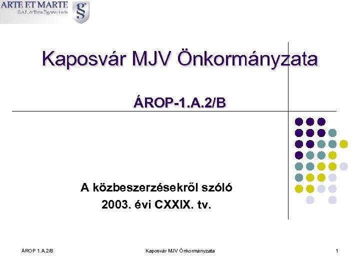 Kaposvár MJV Önkormányzata ÁROP-1. A. 2/B A közbeszerzésekről szóló 2003. évi CXXIX. tv. ÁROP