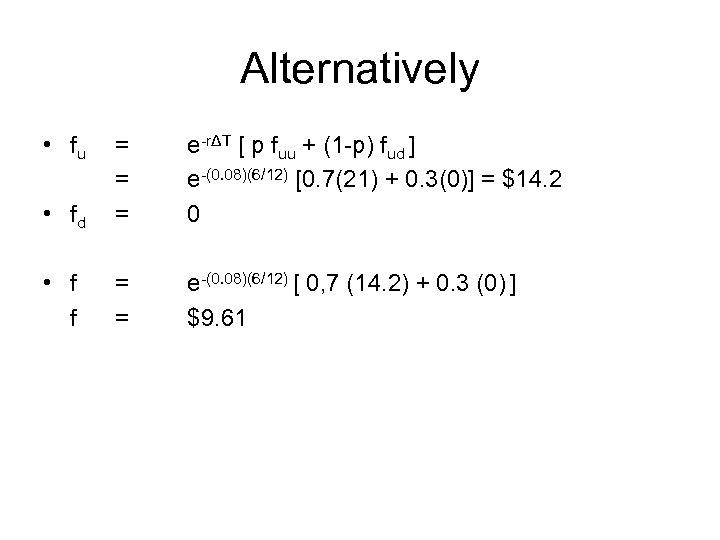 Alternatively • fu • fd = = = e-rΔT [ p fuu + (1