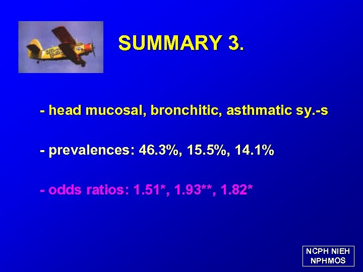 SUMMARY 3. - head mucosal, bronchitic, asthmatic sy. -s - prevalences: 46. 3%, 15.