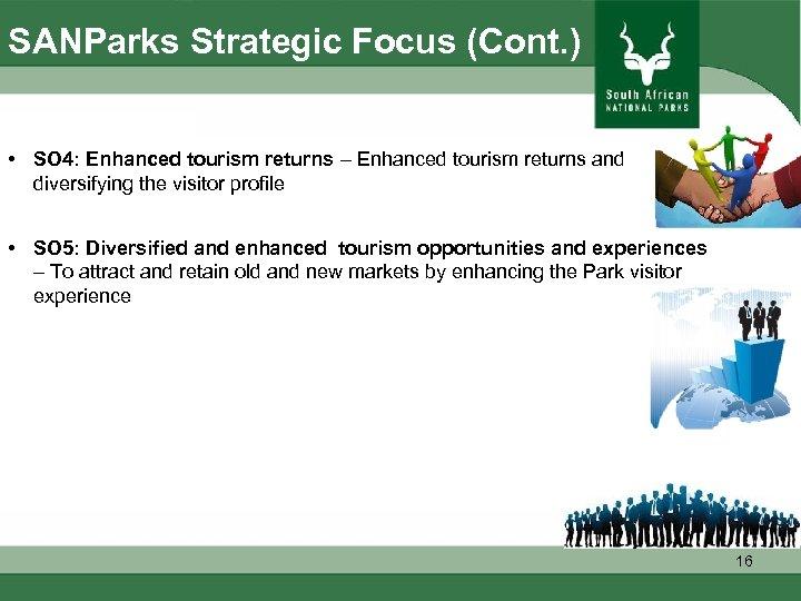 SANParks Strategic Focus (Cont. ) • SO 4: Enhanced tourism returns – Enhanced tourism