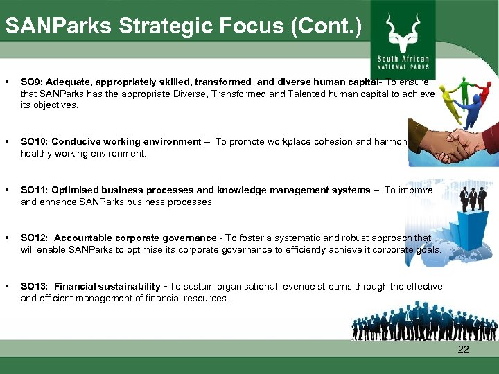 SANParks Strategic Focus (Cont. ) • SO 9: Adequate, appropriately skilled, transformed and diverse