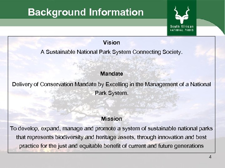 Background Information Vision A Sustainable National Park System Connecting Society. Mandate Delivery of Conservation