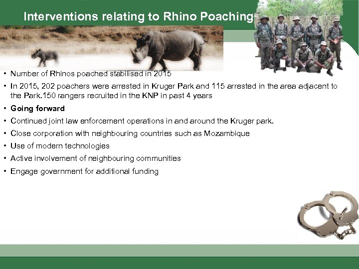 Interventions relating to Rhino Poaching • Number of Rhinos poached stabilised in 2015 •