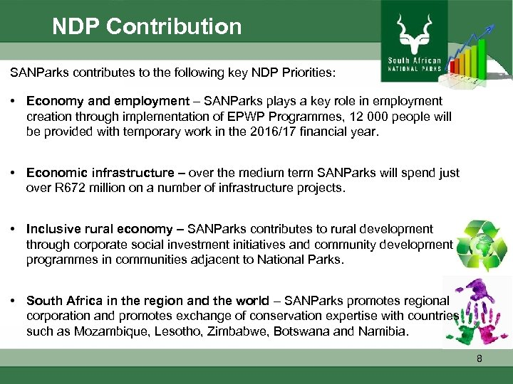 NDP Contribution SANParks contributes to the following key NDP Priorities: • Economy and employment