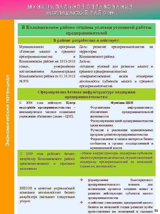 МУНИЦИПАЛЬНОЕ ОБРАЗОВАНИЕ «КОЛПАШАВСКИЙ Р А Й О Н» В Колпашевском районе созданы условия успешной