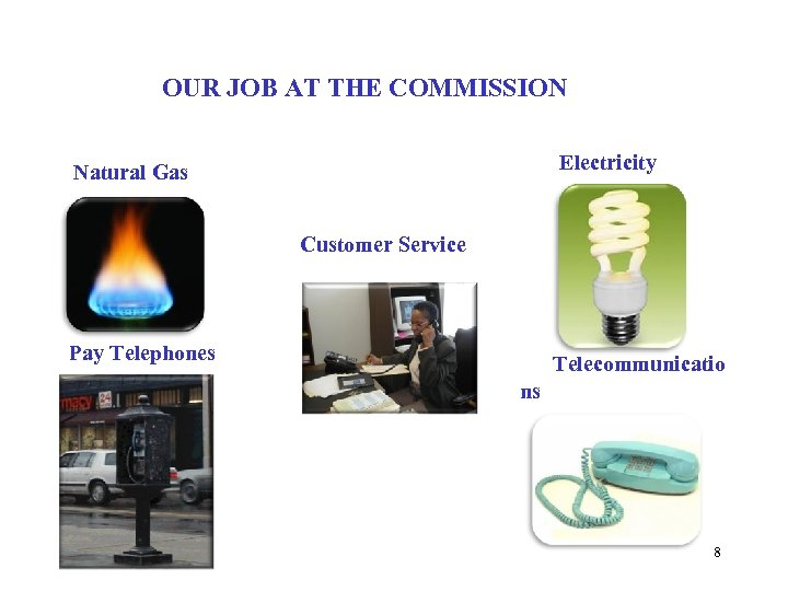 OUR JOB AT THE COMMISSION Electricity Natural Gas Customer Service Pay Telephones Telecommunicatio ns