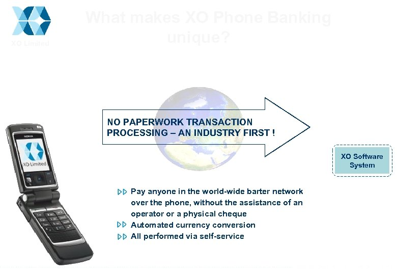 XO Limited What makes XO Phone Banking unique? NO PAPERWORK TRANSACTION PROCESSING – AN
