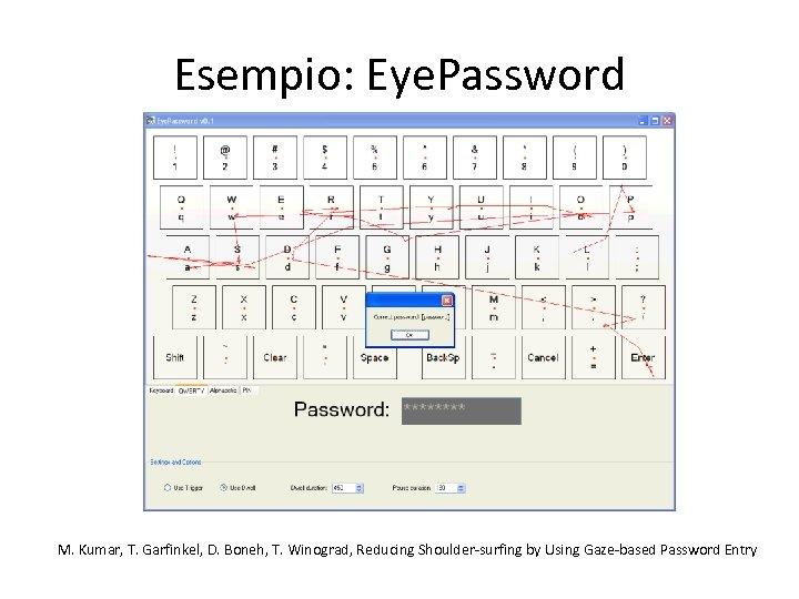 Esempio: Eye. Password M. Kumar, T. Garfinkel, D. Boneh, T. Winograd, Reducing Shoulder-surfing by