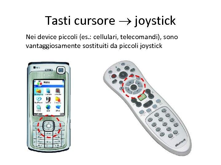 Tasti cursore joystick Nei device piccoli (es. : cellulari, telecomandi), sono vantaggiosamente sostituiti da