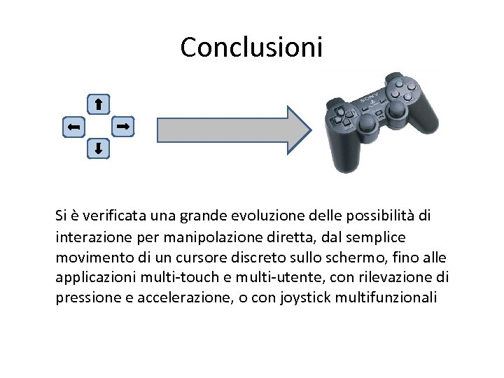 Conclusioni Si è verificata una grande evoluzione delle possibilità di interazione per manipolazione diretta,