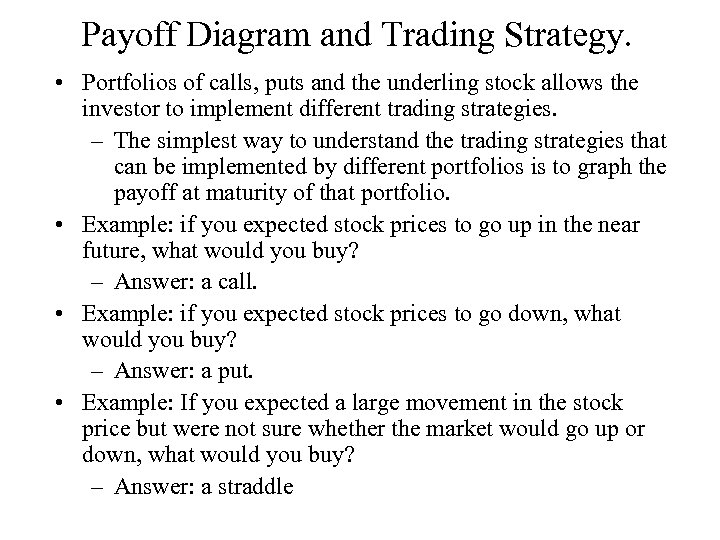 Payoff Diagram and Trading Strategy. • Portfolios of calls, puts and the underling stock