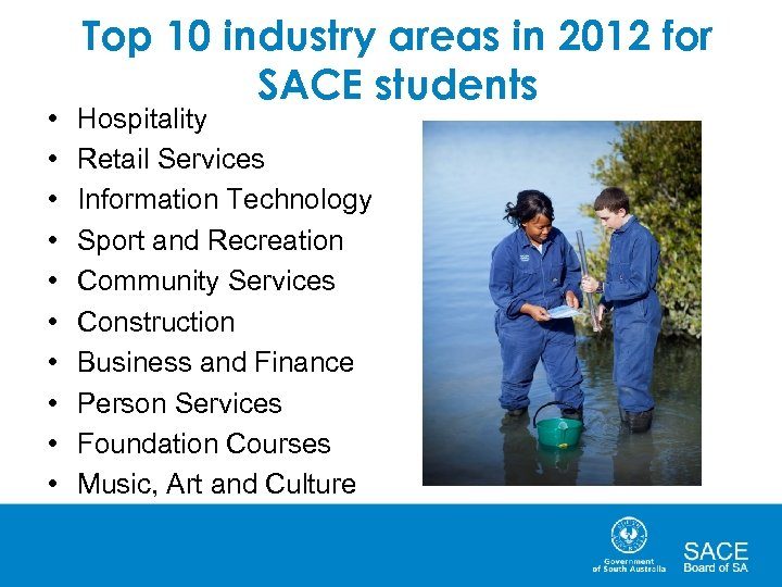 • • • Top 10 industry areas in 2012 for SACE students Hospitality