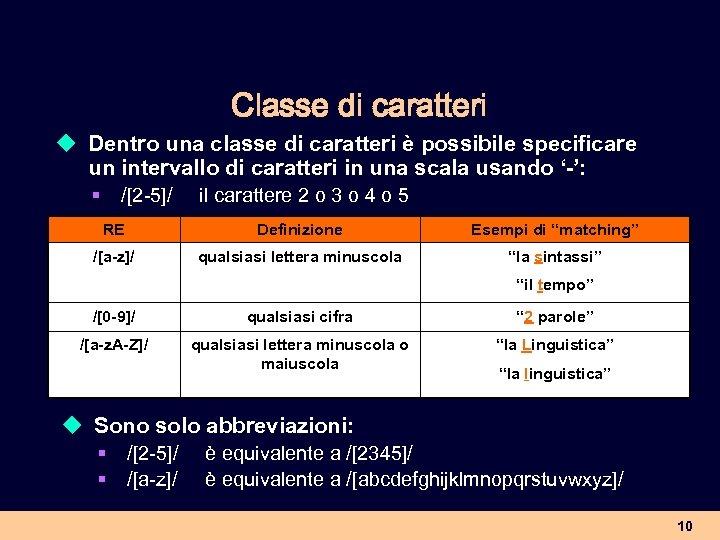 Classe di caratteri u Dentro una classe di caratteri è possibile specificare un intervallo