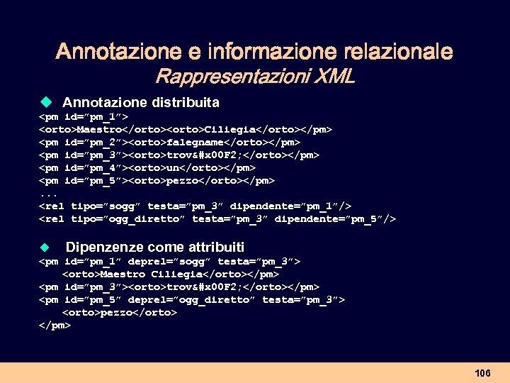 """Annotazione e informazione relazionale Rappresentazioni XML u Annotazione distribuita <pm id=""""pm_1""""> <orto>Maestro</orto><orto>Ciliegia</orto></pm> <pm id=""""pm_2""""><orto>falegname</orto></pm>"""