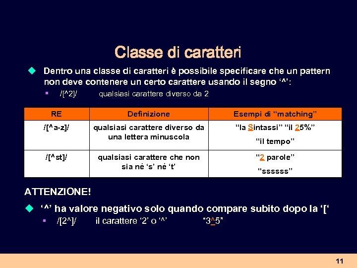 Classe di caratteri u Dentro una classe di caratteri è possibile specificare che un