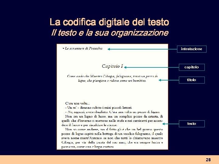 La codifica digitale del testo Il testo e la sua organizzazione intestazione capitolo testo