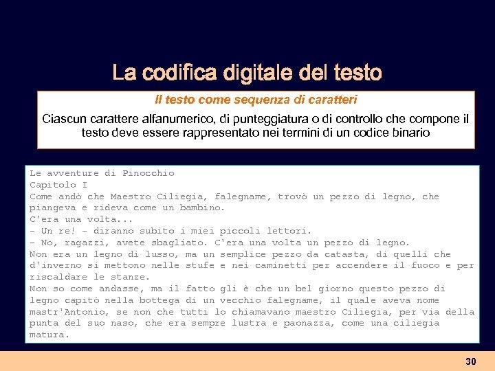 La codifica digitale del testo Il testo come sequenza di caratteri Ciascun carattere alfanumerico,