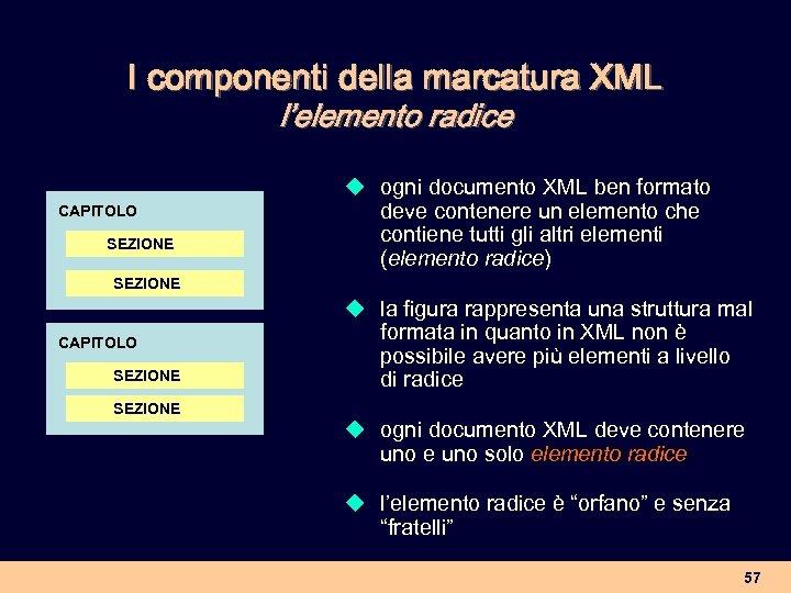 I componenti della marcatura XML l'elemento radice CAPITOLO SEZIONE u ogni documento XML ben