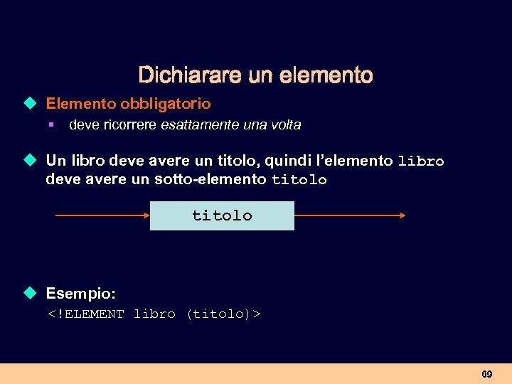 Dichiarare un elemento u Elemento obbligatorio § deve ricorrere esattamente una volta u Un