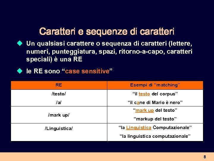Caratteri e sequenze di caratteri u Un qualsiasi carattere o sequenza di caratteri (lettere,