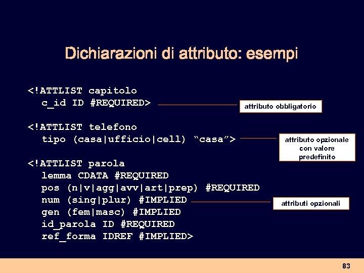 Dichiarazioni di attributo: esempi <!ATTLIST capitolo c_id ID #REQUIRED> attributo obbligatorio <!ATTLIST telefono tipo