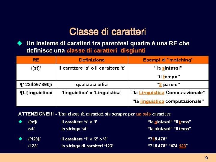 Classe di caratteri u Un insieme di caratteri tra parentesi quadre è una RE