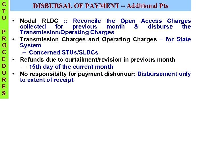 C T U DISBURSAL OF PAYMENT – Additional Pts • Nodal RLDC : :