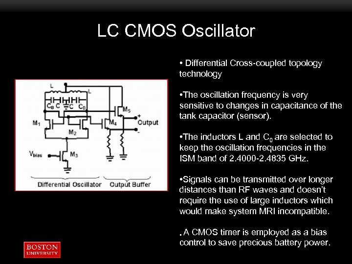 LC CMOS Oscillator • Differential Cross-coupled topology technology • The oscillation frequency is very