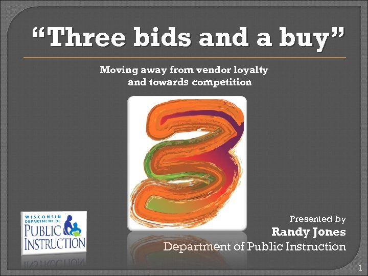 """Three bids and a buy"" Moving away from vendor loyalty and towards competition Presented"