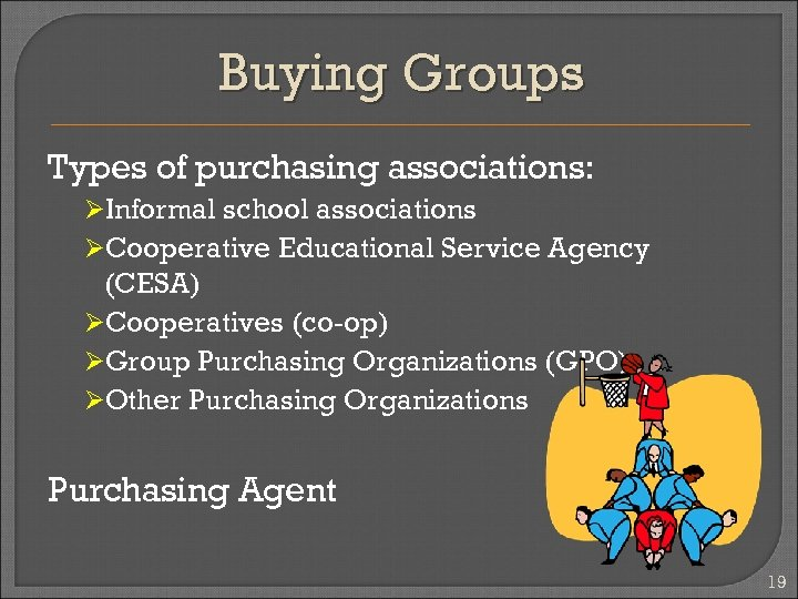 Buying Groups Types of purchasing associations: ØInformal school associations ØCooperative Educational Service Agency (CESA)