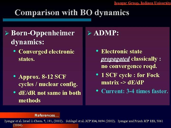 Iyengar Group, Indiana University Comparison with BO dynamics Ø Born-Oppenheimer dynamics: • Converged electronic