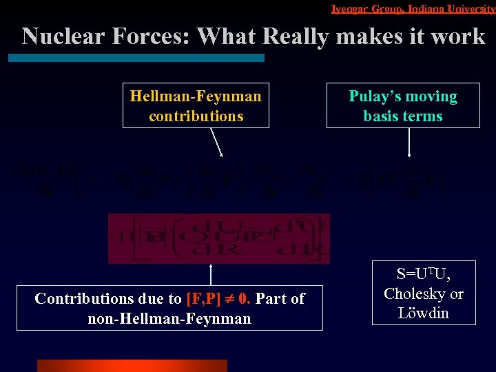 Iyengar Group, Indiana University Nuclear Forces: What Really makes it work Hellman-Feynman contributions Contributions