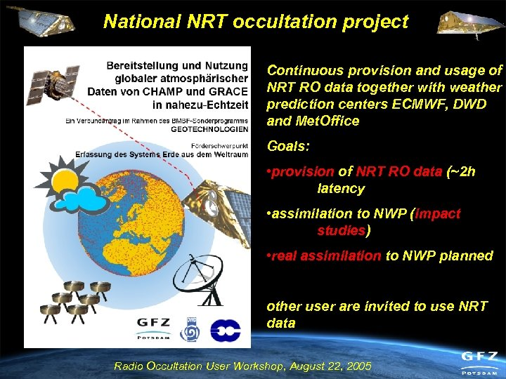 National NRT occultation project Continuous provision and usage of NRT RO data together with