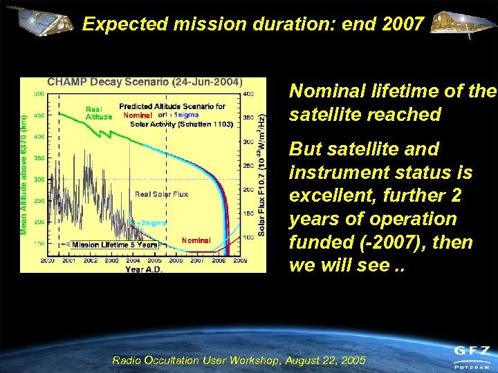 Expected mission duration: end 2007 Nominal lifetime of the satellite reached But satellite and
