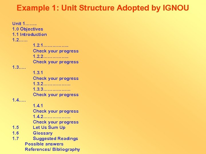 Example 1: Unit Structure Adopted by IGNOU Unit 1……. . 1. 0 Objectives 1.