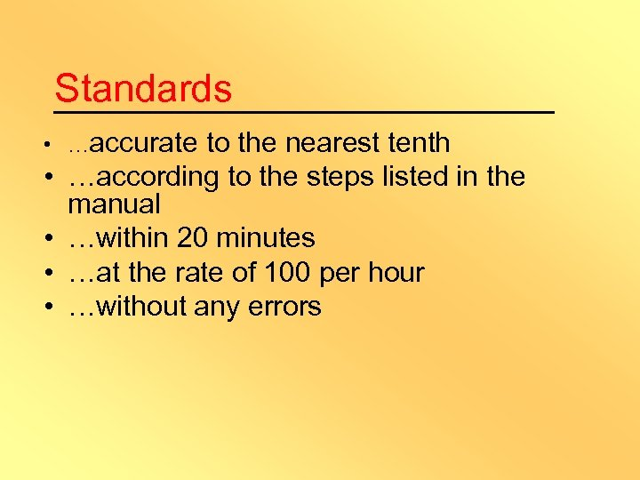Standards • …accurate • • to the nearest tenth …according to the steps listed